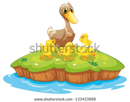 Illustration of the five ducks in an island on a white background - stock photo