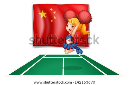 Illustration of the flag of China and the young cheerdancer on a white background - stock photo