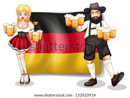 Illustration of the flag of Germany with a man and a woman on a white background - stock photo