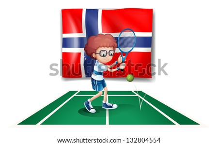 Illustration of the flag of Norway at the back of the tennis player on a white background