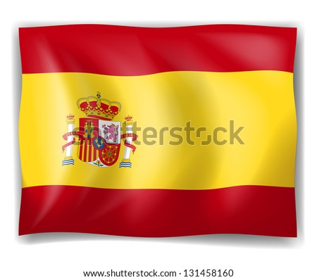 Illustration of the Flag of Spain on a white background - stock photo