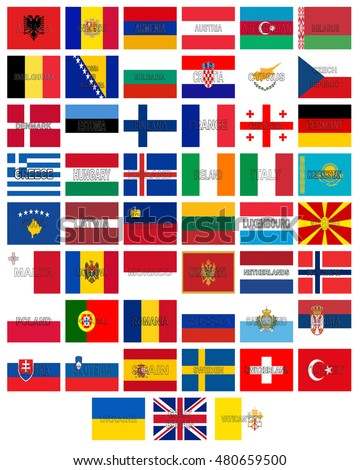 Illustration of the flags of all the countries that make up Europe with the country names written on the flags.