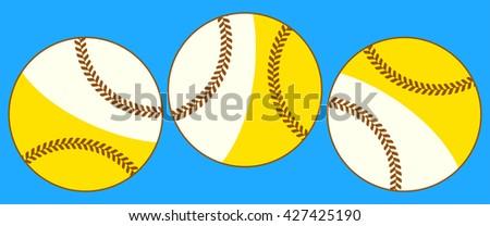 Illustration of the flying baseball balls icon - stock photo