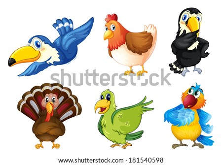 Illustration of the flying birds on a white background - stock photo