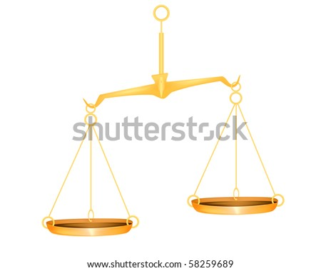 Illustration of the golden scales over white background - stock photo