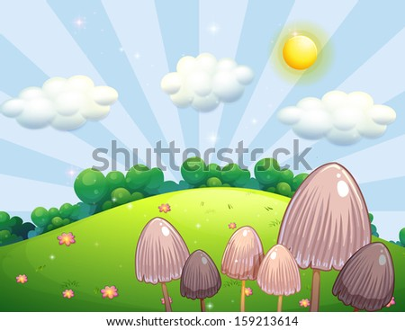 Illustration of the group of mushroom plants near the hill