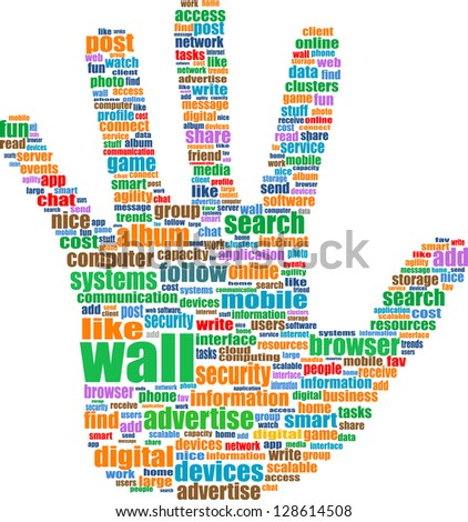 Illustration of the hand symbol, which is composed of text keywords on social media themes. Isolated on white, raster