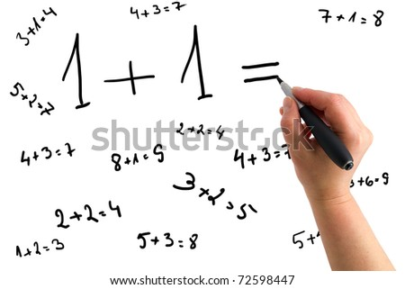 Illustration of the hand with a pen drawing mathematical equations on the white paper background