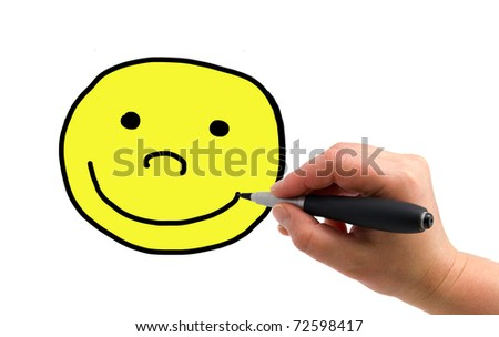 Illustration of the hand with a pen drawing smiley on the white paper background