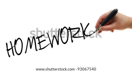 Illustration of the hand with a pen writing Homework on the white paper background