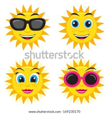 Illustration of the he and she sun with glasses and different face expressions - stock photo