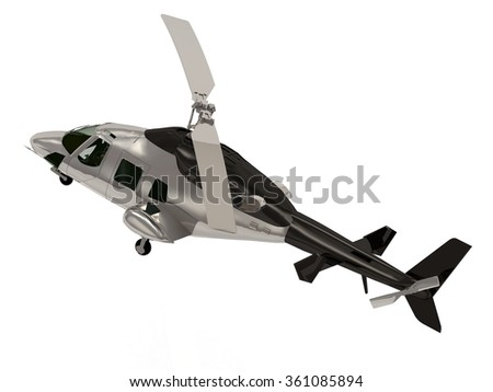 Illustration of the helicopter on white - stock photo