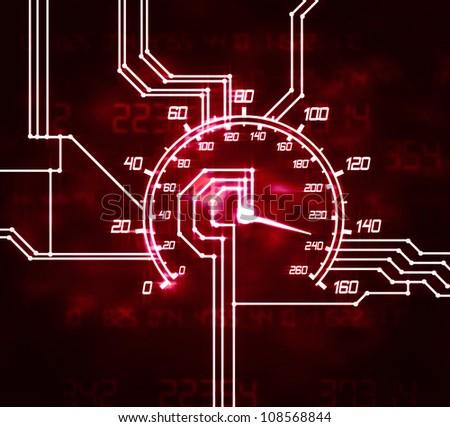 illustration of the hitech speedometer abstract microscheme - stock photo
