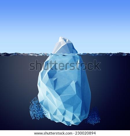Illustration of the iceberg in the sea - stock photo