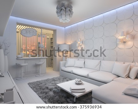 Illustration of the interior design of the living room in a modern style. Room with a large corner sofa on the background wall of the 3D panel
