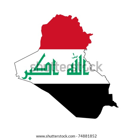 Illustration of the Iraq flag on map of country; isolated on white background. - stock photo
