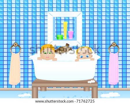 Illustration of the little children bathing in a bathroom - stock photo