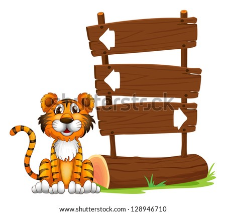 Illustration of the little tiger on a white background