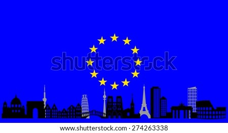 illustration of the main attractions of Europe on the background of the flag . - stock photo