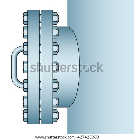 Illustration of the manhole icon. Side view - stock photo