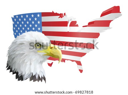 illustration of the map of the united states of america and the eagle - stock photo