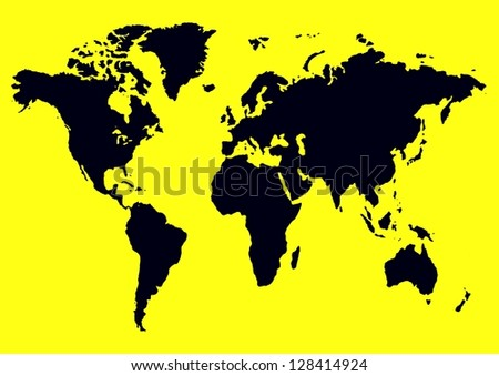 Illustration of the map of the world in black and yellow - stock photo
