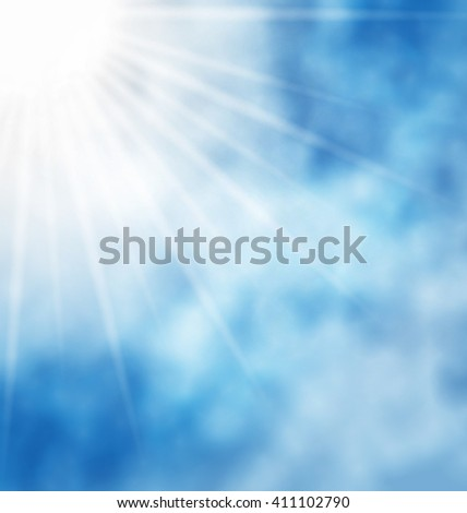 Illustration of the nature background with blue sky and bright sun and cloud - raster