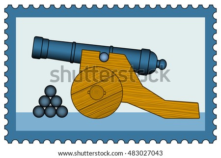 Illustration of the old cannon icon on postage stamp