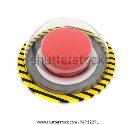 Illustration of the red button under glass on a white background