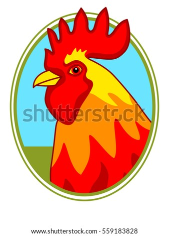 Illustration of the rooster on oval frame