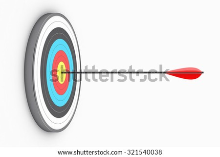 Illustration of the round target with an arrow in the centre - stock photo