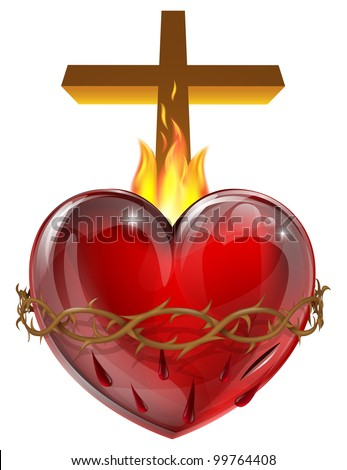 Illustration of the Sacred Heart, representing Jesus Christ's divine love for humanity.
