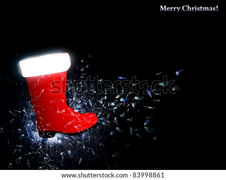illustration of the Santa boot at broken glass , copyspace for your text - stock photo
