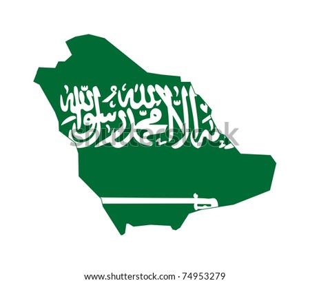 Illustration of the Saudi Arabia flag on map of country; isolated on white background. - stock photo