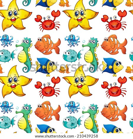 Illustration of the seamless design with sea creatures on a white background
