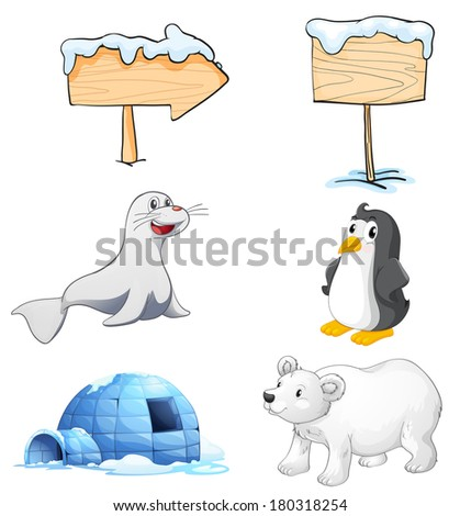 Illustration of the signboards, animals and an igloo at the north pole on a white background - stock photo