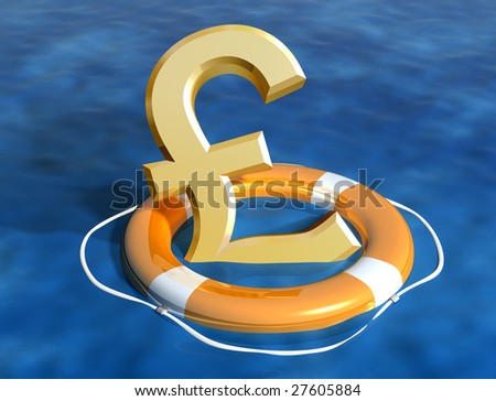 Illustration of the sinking pound being saved - stock photo