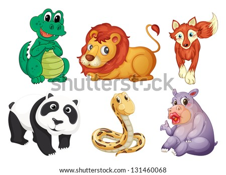 Illustration of the six different kinds of animals on a white background