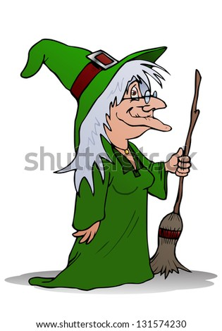 illustration of the smiling wizard witch holding magic broom on isolated white background - stock photo