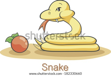 Illustration of the snake with an apple - stock photo