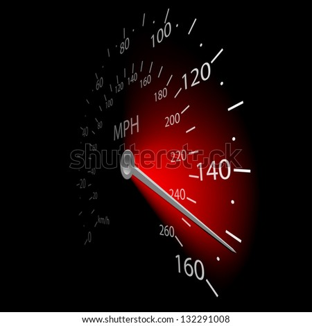 Illustration of the speedometer on dark background. - stock photo