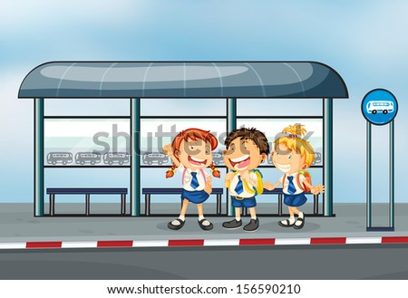 Illustration of the students at the bus stop - stock photo