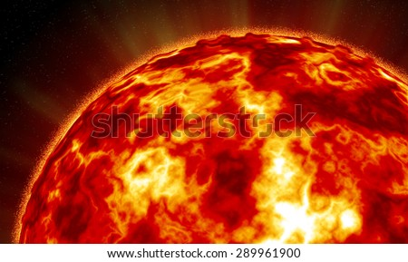 illustration of the sun at close range with explosive flares and flames rising off its surface.... - stock photo