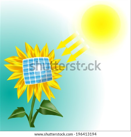 Illustration of the sunflower getting energy from the Sun with the solar panel. Raster version. - stock photo