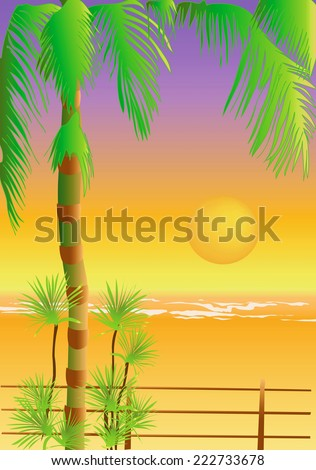 Illustration of the sunset on the tropical beach with the palm tree in orange and yellow colors - stock photo