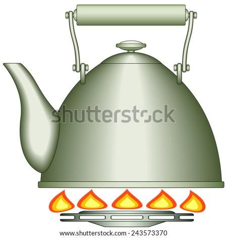 Illustration of the teapot on gas-stove burner  - stock photo