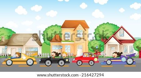 Illustration of the teenagers car racing in front of the neighborhood