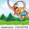 Illustration of the three kids riding in the roller coaster - stock vector