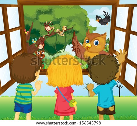 Illustration of the three kids watching the different animals in the forest  - stock photo