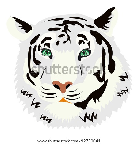 Illustration of the tiger on white background is insulated